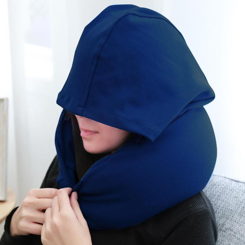 U-Shape Inflatable Travel Pillow with Hoodie