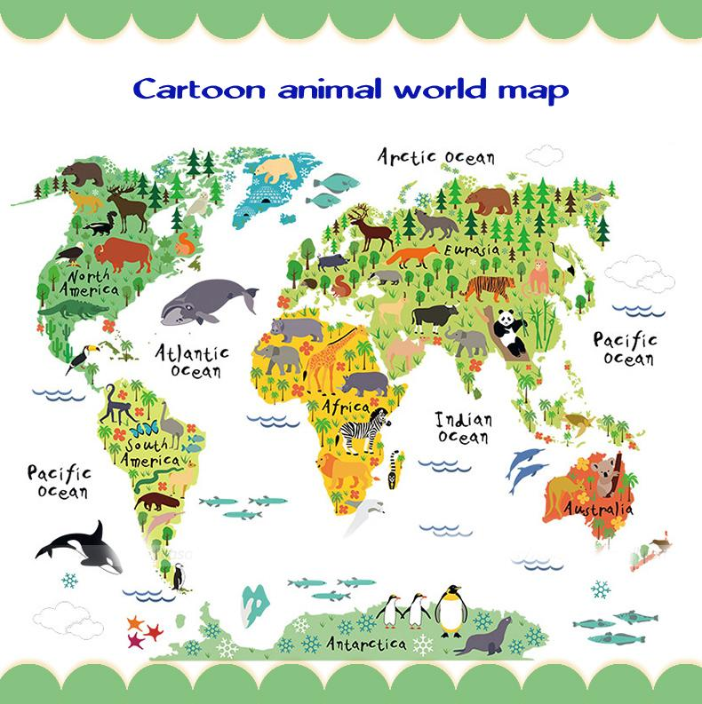 Colorful Kids Room World Map Wall Decal
