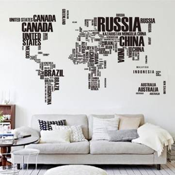 DIY Large Removable World Map Wall Decal