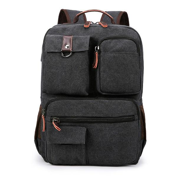 Canvas Travel Backpack With USB Port & Laptop Compartment