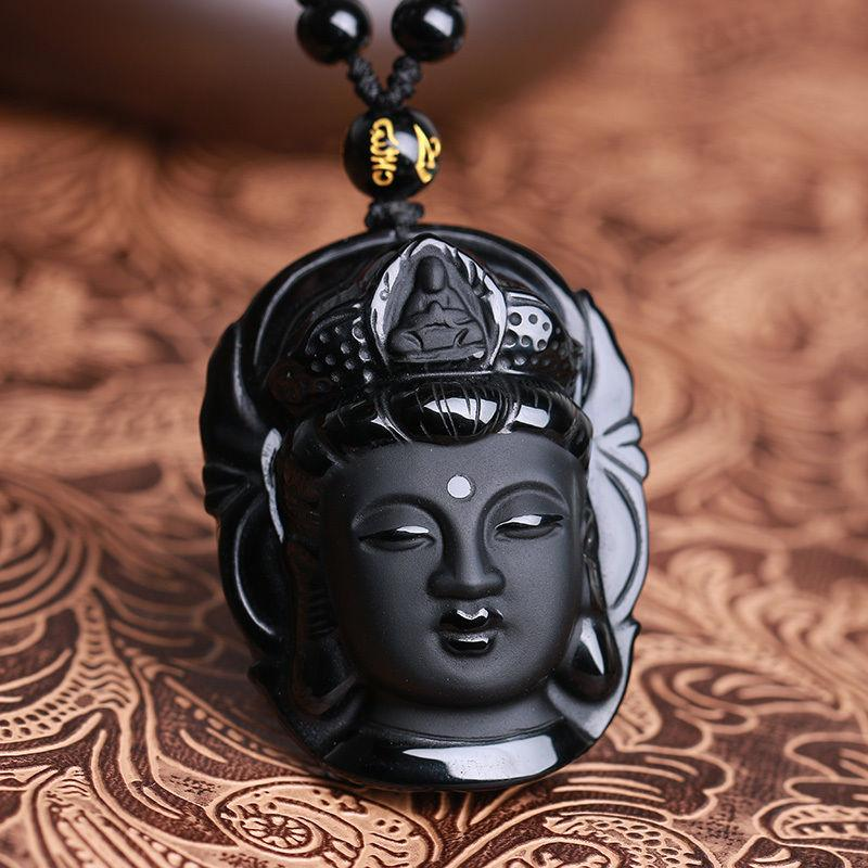 Natural Black Obsidian Kwan-yin Charm Necklace/Pendant